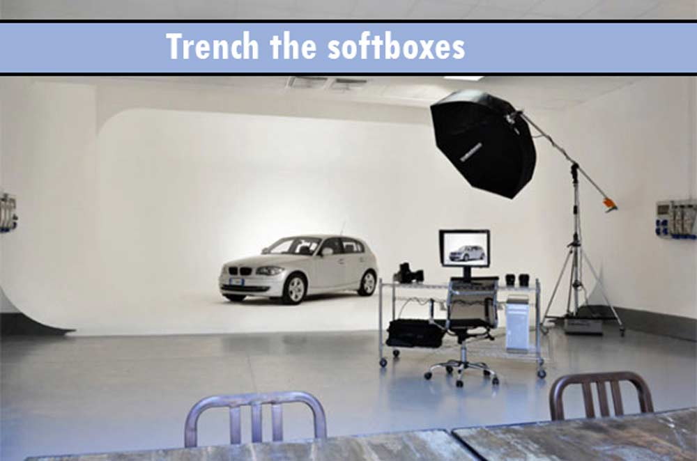Trench-the-softboxes- How To Setup Car studio lighting and photograph your Car